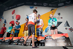 Stasa Gejo (SRB), Jan Hojer (GER),Jernej Kruder (SLO) and Janja Garnbret (SLO) at Fnal of Climbing event - Triglav the Rock Ljubljana 2018, on May 19, 2018 in Congress Square, Ljubljana, Slovenia. Photo by Urban Urbanc / Sportida