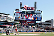 DETROIT, MI - APRIL 19: General view of the stadium and scoreboard during the game between the Los Angeles Angels and the Detroit Tigers at Comerica Park on April 19, 2014 in Detroit, Michigan. The Tigers won 5-2. (Photo by Joe Robbins)