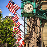 Chicago Macy's store clock (formerly Marshall Field's), Chicago Theatre sign, and Marina City Towers in downtown Chicago high resolution photo.