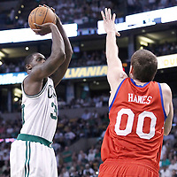26 May 2012: Boston Celtics power forward Brandon Bass (30) takes a jumpshot over Philadelphia Sixers center Spencer Hawes (00) during the Boston Celtics 85-75 victory over the Philadelphia Sixer, in Game 7 of the Eastern Conference semifinals playoff series, at the TD Banknorth Garden, Boston, Massachusetts, USA.