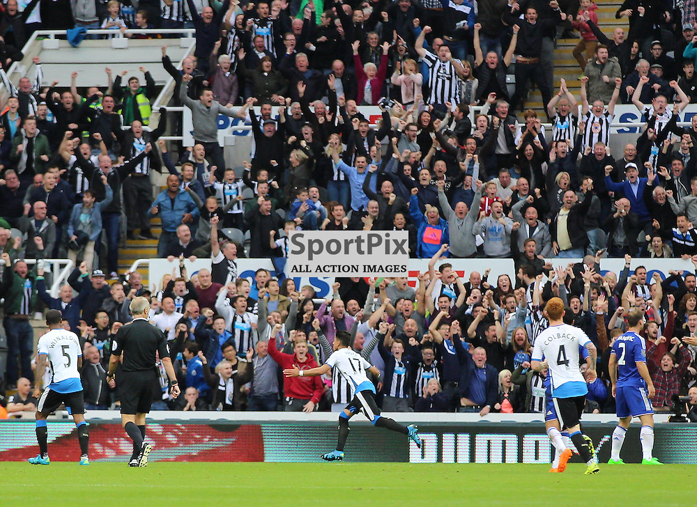 Newcastle United v Chelsea English Premiership 26 September 2015; Ayoze Perez (Newcastle, 17) scores during the Newcastle v Chelsea English Premiership match played at St. James' Park, Newcastle; <br /> <br /> &copy; Chris McCluskie | SportPix.org.uk