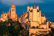 SPAIN, CASTILE, SEGOVIA Alcazar Castle; Cathedral beyond