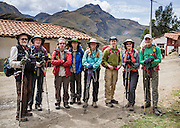 Our eight trekkers pose in Vaqueria at the start of day 1 of 10 days hiking around Alpamayo in Huascaran National Park (UNESCO World Heritage Site), Cordillera Blanca, Andes Mountains, Peru, South America. For licensing options, please inquire.