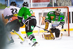 23.12.2014, Hala Tivoli, Ljubljana, SLO, EBEL, HDD Telemach Olimpija Ljubljana vs Dornbirner EC, 30. Runde, in picture Oliver Achermann (Dornbirn EC, #22) vs Andy Chiodo (HDD Telemach Olimpija, #40) during the Erste Bank Icehockey League 30. Round between HDD Telemach Olimpija Ljubljana and Dornbirner Eishockey Club at the Republic Square, Ljubljana, Slovenia on 2014/12/23. Photo by Morgan Kristan / Sportida