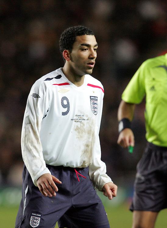 Aaron Lennon of England. England v Republic of Ireland, Uefa Under-21 Championship Qualifier, Tuesday 5th February 2008, St Marys, Southampton.
