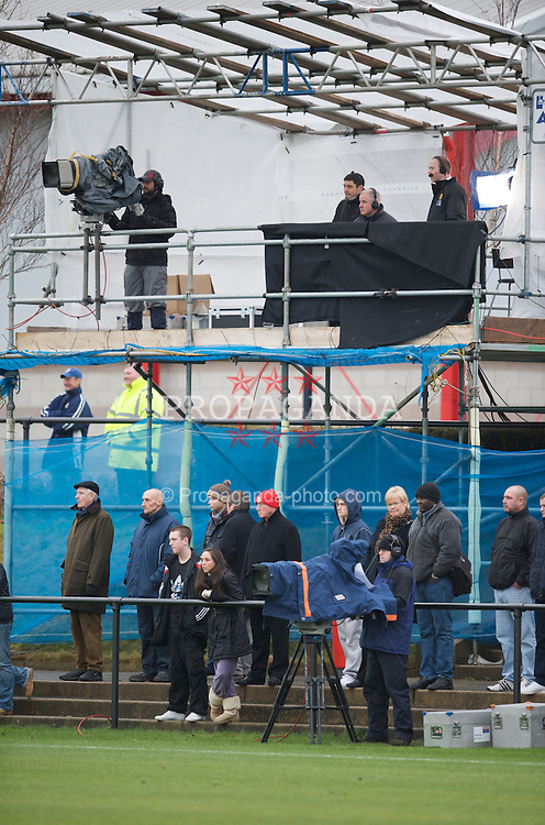 KIRKBY, ENGLAND - Saturday, December 13, 2008: Television cameras from MUTV cover Liverpool's game against Manchester United during the FA Premier Academy Group A match at the Kirkby Academy. (Pic by David Rawcliffe/Propaganda)