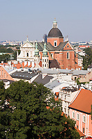 St Peter and Paul church viewed over roof tops in Krakow Poland