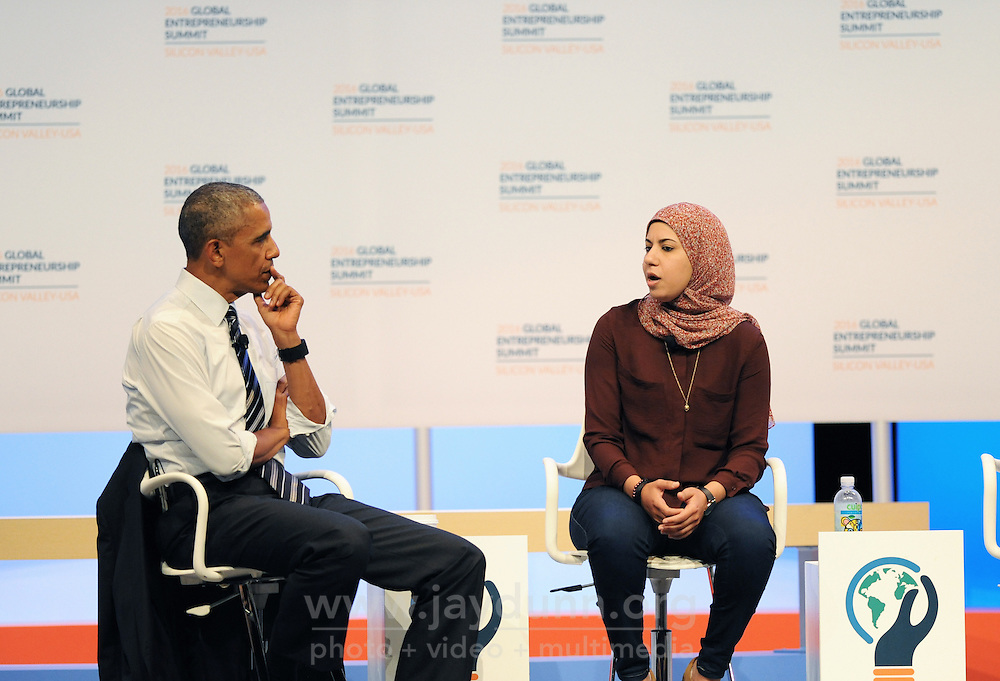 At the 2016 Global Entrepreneurship Summit at Stanford University on Friday, June 24th, President Barack Obama listens to Egyptian entrepreneur Mai Medhat, of Eventtus, as she talks about the difficulties she's had growing her business.