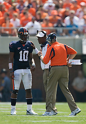 Virginia quarterback Jameel Sewell (10) receives instructions from head coach Al Groh.  The Virginia Cavaliers defeated the Duke Blue Devils 23-14 at Scott Stadium in Charlottesville, VA on September 8, 2007  With the loss, Duke extended their longest-in-the-nation losing streak to 22 games.