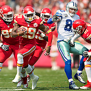 Kansas City Chiefs strong safety Eric Berry (29) returned a third quarter fumble past Dallas Cowboys tight end Jason Witten (82) in NFL action action on September 15, 2013 at Arrowhead Stadium in Kansas City, Mo. The Chiefs won 17-16.