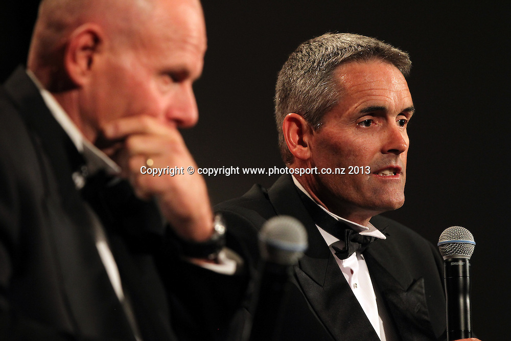 Grant Dalton and Sir Russell Coutts speak during an evening with Americas Cup yachtsmen Sir Russell Coutts and Grant Dalton at The Langham, Auckland, Friday May 3, 2013 to raise funds for David Barnes and Rick Dodson who suffer from multiple sclerosis ands plan to compete in the 2016 Paralympics in Rio. Photo: Fiona Goodall/photosport.co.nz