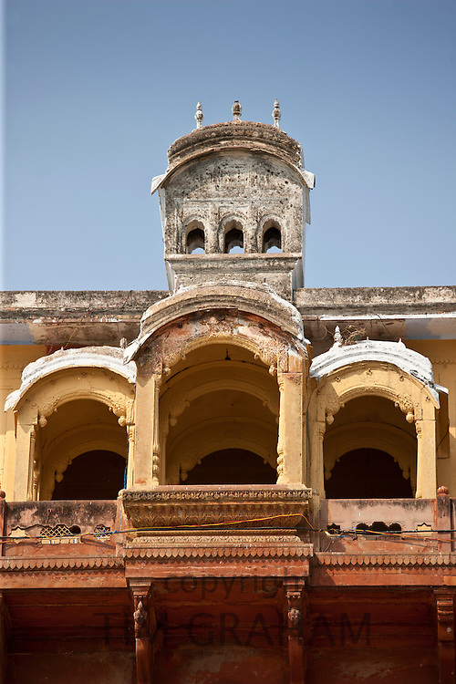 Maharaja Chet Singh Palace Fort at Chet Singh Ghat on banks of The Ganges River in holy city of Varanasi, India