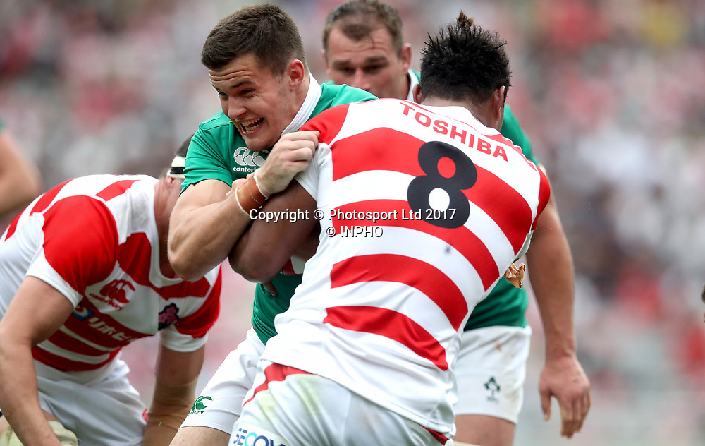 2017 Summer Tour 3rd Test, Ajinomoto Stadium, Chofu, Tokyo 24/6/2017<br /> Japan vs Ireland<br /> Japan's Amanaki Mafi and Jacob Stockdale of Ireland<br /> Mandatory Credit &copy;INPHO/Ryan Byrne