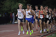 Mar 25, 2017;  Azusa, CA, USA; Hunter Clark of Dos Pueblos (649) and Justin Hazell of El Camino Real (690) lead the 3,200m during the 26th Meet of Champions Distance Classic at Azusa Pacific University. Hazell won in 9:10.03.
