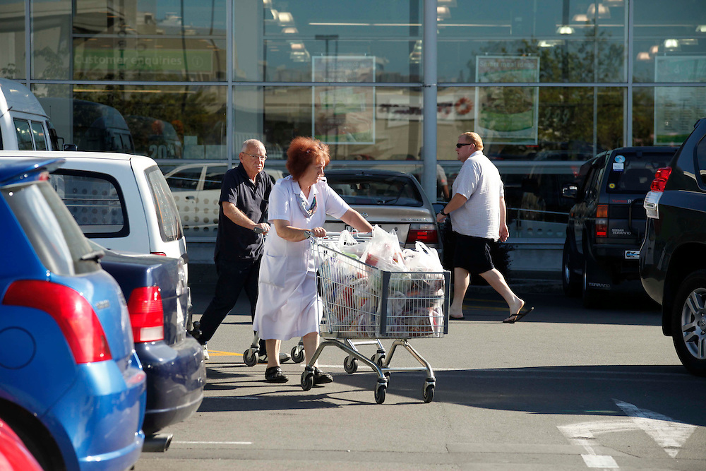 Shoppers out at supermarkets at Northlands following a swarm of earthquakes, Christchurch, Saturday, December 24, 2011.  Credit:SNPA / Pam Johnson