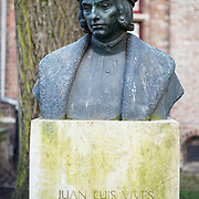 "A statue of Juan Luis Vives (1493 – 1540) in Bruges. He was a Valencian scholar and humanist who spent most of his entire adult life in the Southern Netherlands. His beliefs on the soul, insight to early medicine practice, and perspective on emotions, memory and learning earned him the title of the ""father"" of modern psychology."