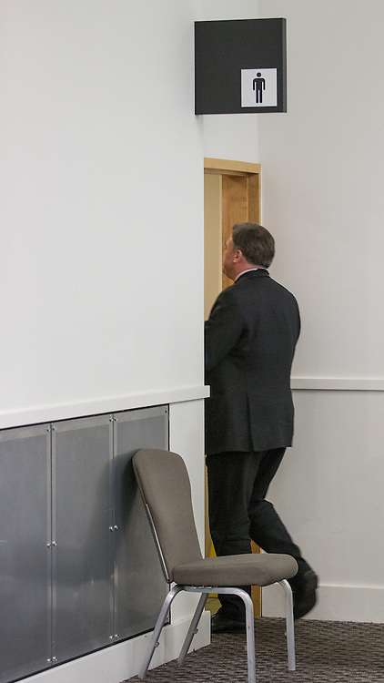 """© Licensed to London News Pictures . 01/03/2014 . London , UK . Ed Balls goes to the toilet . The Labour Party hold a one day """" Special Conference """" at the Excel Centre in London today (Saturday 1st March 2014) . Photo credit : Joel Goodman/LNP"""