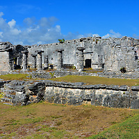House of Columns at Mayan Ruins in Tulum, Mexico<br /> It is easy to see why this is called the House of Columns. But it is also named The Palace because it once served as the residence for Mayan leaders. El Palacio must have been a very impressive perhaps even imposing structure. Its three stories were built on a 279 by 115 foot foundation in the center of the Mayan community.