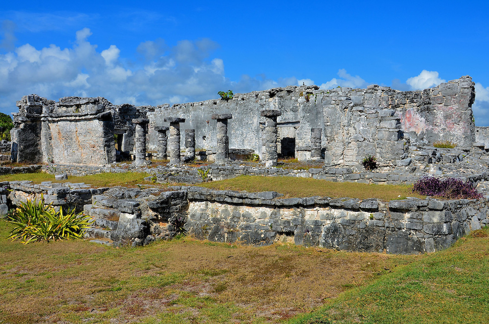 House of Columns at Mayan Ruins in Tulum, Mexico<br />