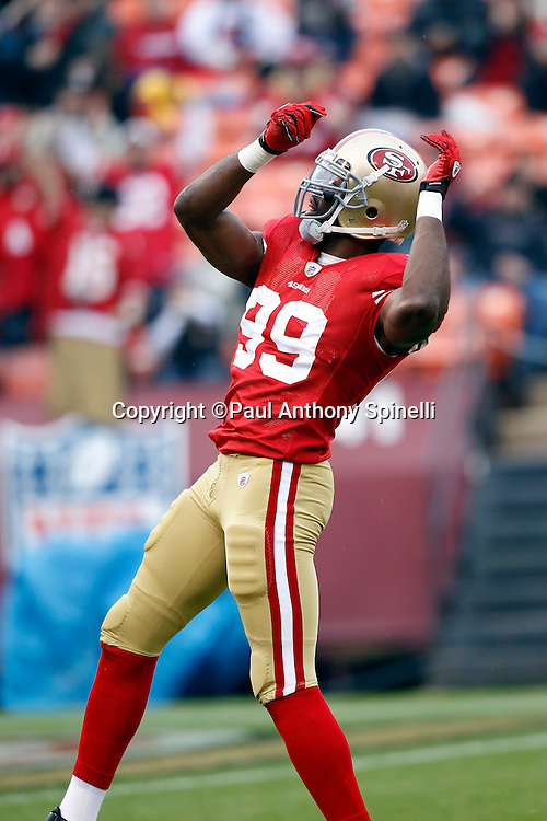 San Francisco 49ers linebacker Manny Lawson (99) celebrates after a first quarter sack during the NFL week 17 football game against the Arizona Cardinals on Sunday, January 2, 2011 in San Francisco, California. The 49ers won the game 38-7. (©Paul Anthony Spinelli)
