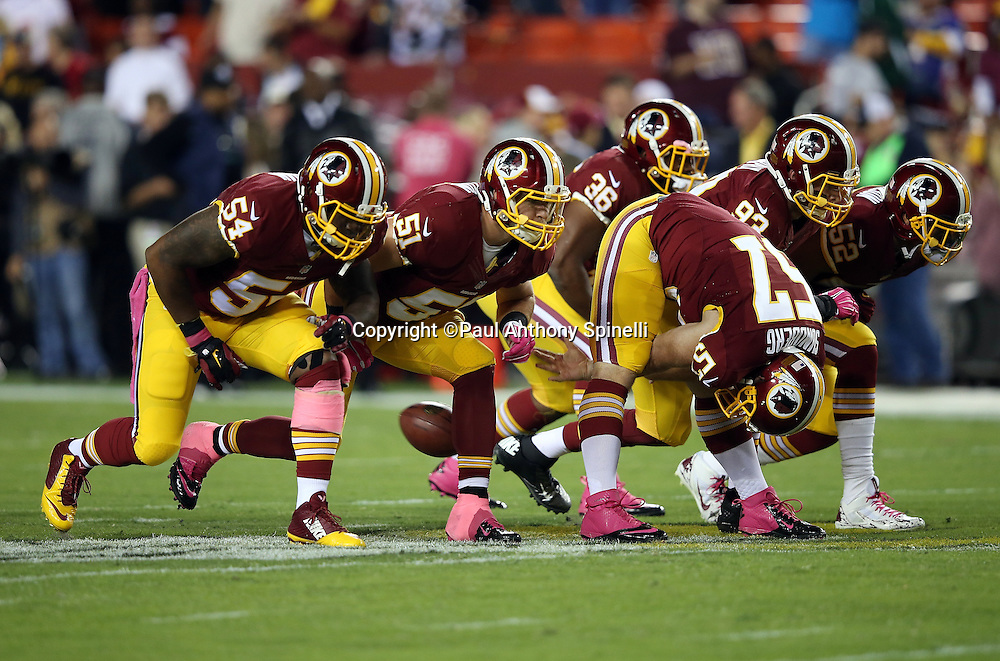 The Washington Redskins special teams punt team practices before the NFL week 5 regular season football game against the Seattle Seahawks on Monday, Oct. 6, 2014 in Landover, Md. The Seahawks won the game 27-17. ©Paul Anthony Spinelli
