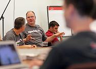 Syncbak Senior Software Engineer Jason Brunken talks about mobile platform development at an Iowa Mobile Developers Meetup at BioVentures Center, 2500 Crosspark Road, in Coralville on Tuesday evening, August 14, 2012.