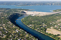 Aerial of Mansfield Dam, forming Lake Travis on the Colorado River near Austin, Texas.