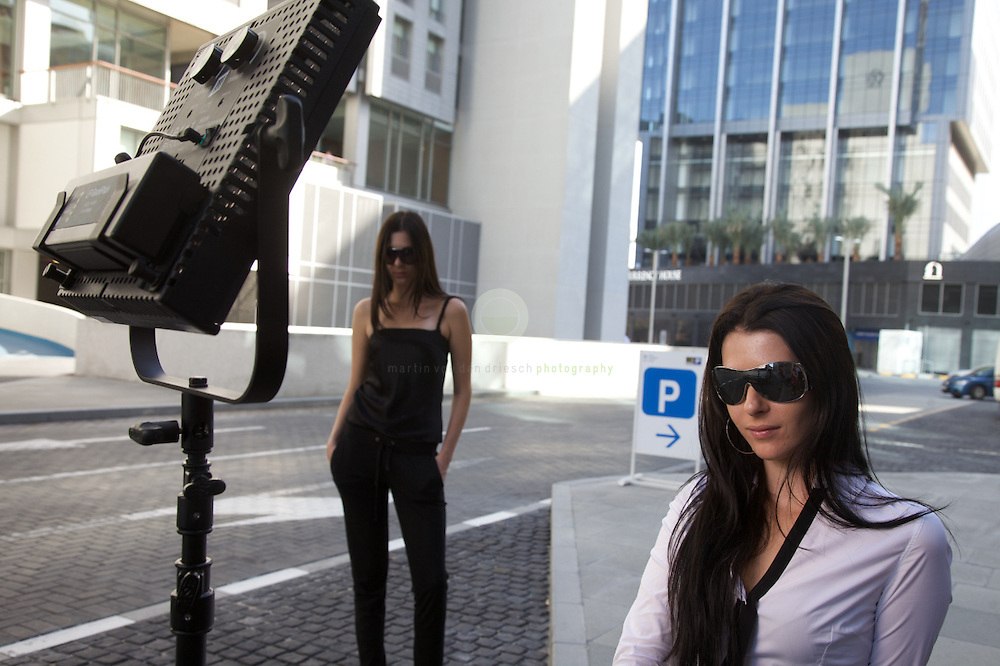 Our models Anna and Sofia during the DIFC shoot.