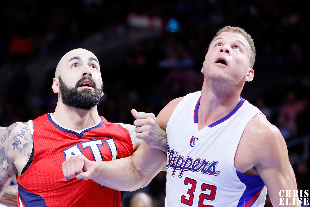 05 January 2014: Atlanta Hawks forward Pero Antic (6) vies for the rebound with Los Angeles Clippers forward Blake Griffin (32) during the Atlanta Hawks 107-98 victory over the Los Angeles Clippers, at the Staples Center, Los Angeles, California, USA.