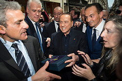 May 23, 2019, Turin, Piedmont, Italy: Silvio Berlusconi and Alberto Cirio candidated for Forza Italia for Piedmont during the electoral campaign for the presentation of the list of Forza Italia candidates for the Regional Elections of Piedmont and European Elections. In the Piedmont Region in Italy the Regional Elections of Piedmont will be held on May 26, 2019 where the new governor of the Italian region will be elected while the European Elections of 2019 will be held in the 28 Member States of the European Union between May 23 and 26, will be the renewal of Members representing EU member countries. (Credit Image: © Stefano Guidi/ZUMA Wire)