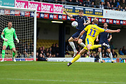 AFC Wimbledon midfielder Mitchell (Mitch) Pinnock (11) about to volley the ball during the EFL Sky Bet League 1 match between Southend United and AFC Wimbledon at Roots Hall, Southend, England on 12 October 2019.