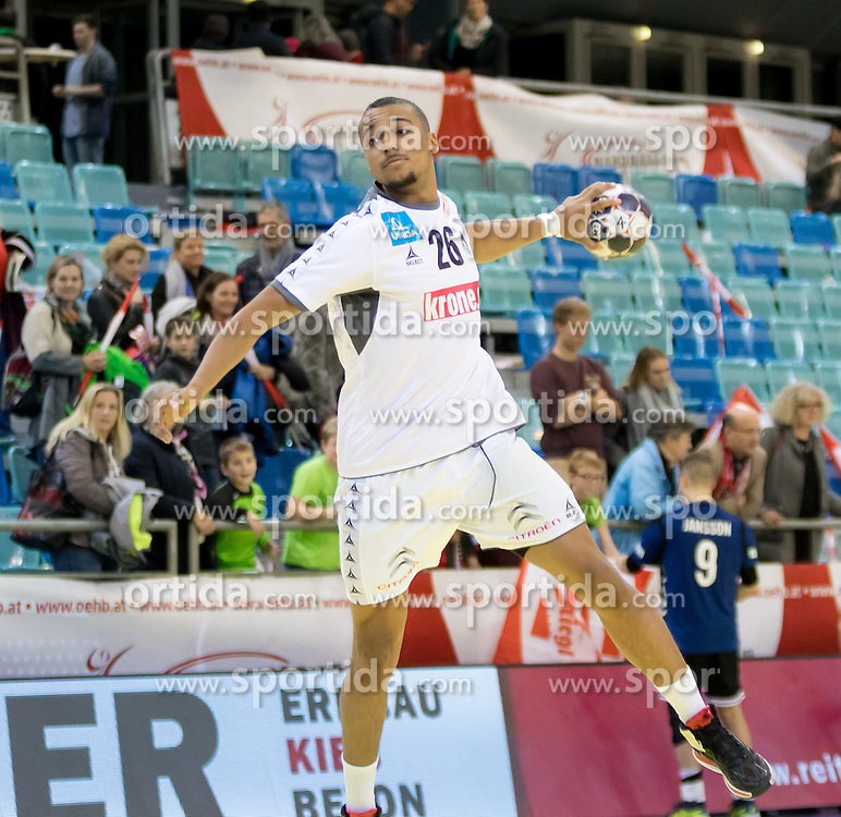 02.11.2016, Arena Nova, Wiener Neustadt, AUT, EHF, Handball EM Qualifikation, Österreich vs Finnland, Gruppe 3, im Bild Julian Ranftl (AUT)// during the EHF Handball European Championship 2018, Group 3, Qualifier Match between Austria and Finland at the Arena Nova, Wiener Neustadt, Austria on 2016/11/02. EXPA Pictures © 2016, PhotoCredit: EXPA/ Sebastian Pucher