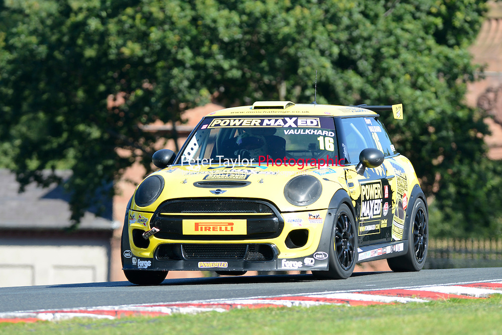 #16 Harry Vaulkhard Mini F56 during Power Maxed Mini Challenge - F56/JCW - Qualifying  as part of the Mini Festival  at Oulton Park, Little Budworth, Cheshire, United Kingdom. August 08 2015. World Copyright Peter Taylor. Copy of publication required for printed pictures.  Every used picture is fee-liable. http://archive.petertaylor-photographic.co.uk