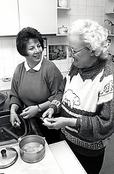 Carer & elderly woman Nottingham UK 1992