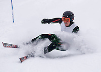 Tyson Morrill of Belmont bounces up off his hip and continues down the giant slalom course during the Lakes Region Championships Friday at Gunstock Mountain Resort.  Teams from Belmont, Interlakes, Sant Bani, Kingswood, Gilford, Moultonboro, Laconia and Prospect Mountain competed in the one day event consisting of two slalom and two giant slalom runs.  (Karen Bobotas/for the Laconia Daily Sun)