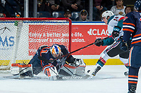 KELOWNA, CANADA - FEBRUARY 24: Kole Lind #16 of the Kelowna Rockets fails to put the puck past Dylan Ferguson #31 of the Kamloops Blazers during first period on February 24, 2018 at Prospera Place in Kelowna, British Columbia, Canada.  (Photo by Marissa Baecker/Shoot the Breeze)  *** Local Caption ***