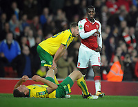Football - 2017 / 2017 EFL (League) Cup - Fourth Round: Arsenal vs. Norwich City<br /> <br /> Hero Eddie Nketiah of Arsenal who scored two goals after coming on as a substitute consoles the Norwich players after the match at The Emirates.<br /> <br /> COLORSPORT/ANDREW COWIE