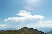 Flock of birds flying about Sommet de Pique Poque near Mount Cagire, Midi-Pyrenees, France.