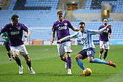 Coventry City forward Jacob Murphy on loan from Norwich City  crosses the ball during the Sky Bet League 1 match between Coventry City and Port Vale at the Ricoh Arena, Coventry, England on 26 December 2015. Photo by Simon Davies.