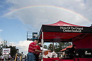 A rainbow arches over a Chick-fil-A stand outside a campaign rally with Republican Vice Presidential candidate  Rep. Paul Ryan (R-WI) on Saturday, August 18, 2012 in The Villages, FL.