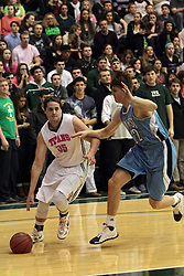 08 February 2014:  Andrew Ziemnik & Erik Crittenden during an NCAA mens division 3 CCIW basketball game between the Elmhurst Bluejays and the Illinois Wesleyan Titans in Shirk Center, Bloomington IL