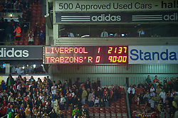 LIVERPOOL, ENGLAND - Thursday, August 19, 2010: The scoreboard records Liverpool narrow 1-0 victory over Trabzonspor during the UEFA Europa League Play-Off 1st Leg match at Anfield. (Pic by: David Rawcliffe/Propaganda)