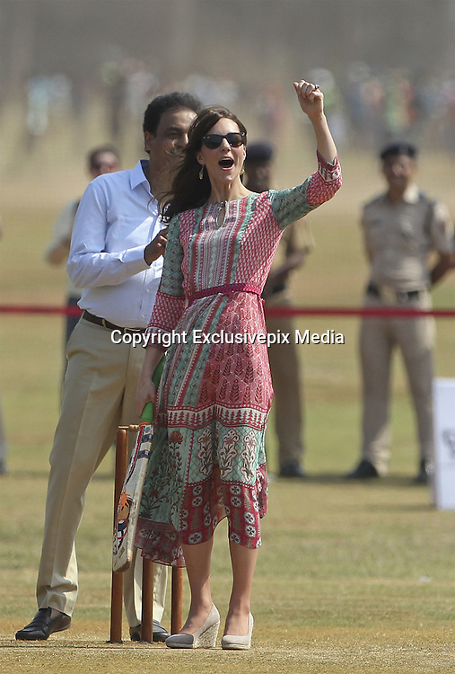 April 10, 2016 - Mumbai, INDIA - <br /> <br /> he Duke and Duchess of Cambridge, Prince William, and his wife, the former Kate Middleton, meet with Indian children who are beneficiaries of non governmental organizations as they play a game of cricket at the Oval Maidan in Mumbai, India, Sunday, April 10, 2016. The royal couple began their weeklong visit to India and Bhutan, by laying a wreath at a memorial Sunday at Mumbai iconic Taj Mahal Palace hotel, where 31 victims of the 2008 Mumbai terrorist attacks were killed.<br /> ©Exclusivepix Media