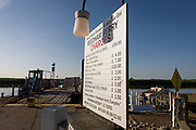 Charged board for the chain ferry crossing the River Yare in Reedham on the Norfolk Broads.