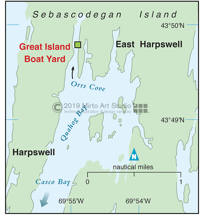 Vector map of Harpswell, Maine marina