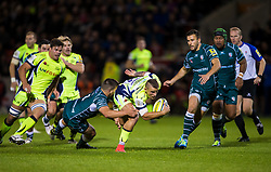 Mark Jennings of Sale Sharks takes on Dave Porecki of London Irish - Mandatory by-line: Matt McNulty/JMP - 15/09/2017 - RUGBY - AJ Bell Stadium - Sale, England - Sale Sharks v London Irish - Aviva Premiership