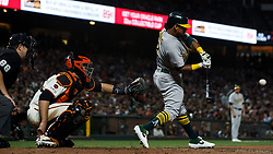 SAN FRANCISCO, CA - AUGUST 13: Khris Davis #2 of the Oakland Athletics at bat against the San Francisco Giants during the ninth inning at Oracle Park on August 13, 2019 in San Francisco, California. The San Francisco Giants defeated the Oakland Athletics 3-2. (Photo by Jason O. Watson/Getty Images) *** Local Caption *** Khris Davis