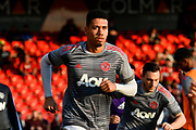 Chris Smalling (12) of Manchester United warming up before the Premier League match between Bournemouth and Manchester United at the Vitality Stadium, Bournemouth, England on 18 April 2018. Picture by Graham Hunt.