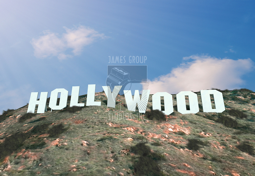 A 3d generated replica of the famous Hollywood sign in Los Angeles, California.
