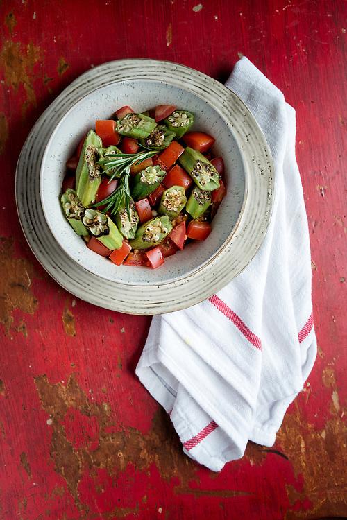 Pan Seared Okra and Tomatoes